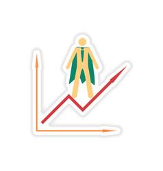 stylish sticker on paper man economic schedule vector image