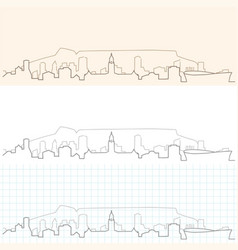 cape town hand drawn skyline vector image