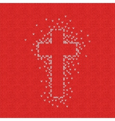 Style seamless red white color knitted pattern vector