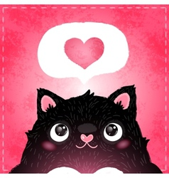 Happy valentines day card with cat and heart vector