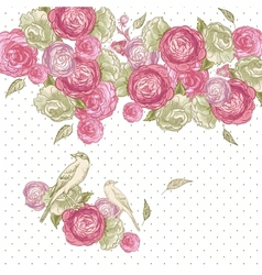 Rose Background with Birds and Butterflies vector image