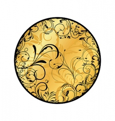 gold floral medallion vector image