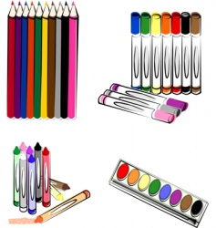 Crayons markers pencils vector
