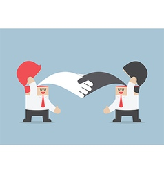 Businessman handshaking with each other brainstro vector
