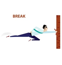 Businessman breaking brick wall vector