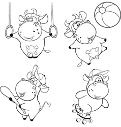 Happy cows clip-art coloring book vector