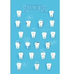 Teeth emotions set vector