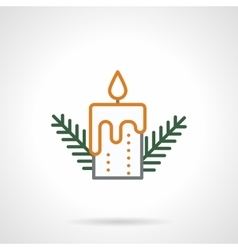 Festive candle simple color line icon vector