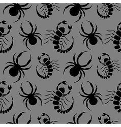 Seamless pattern with scorpions and spiders vector
