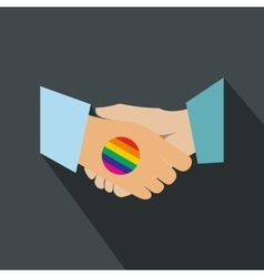 Handshake gay rainbow flat icon vector