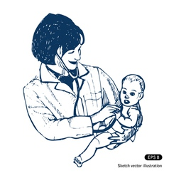 Doctor with baby vector