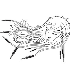Black and white girl with cables emerging from vector
