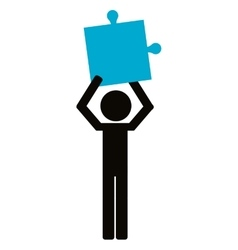 Person holding puzzle piece icon vector