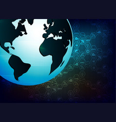 Blue background with the silhouette of the globe vector