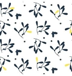 Blue mistletoe silhouette seamless pattern vector