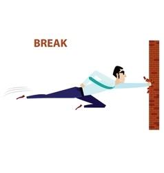 Businessman breaking brick wall vector image