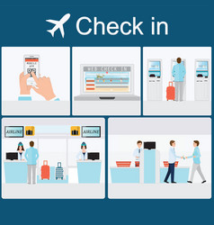 businessman check-in at the airport vector image vector image