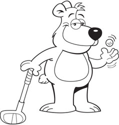 Cartoon bear leaning on a golf club vector image vector image