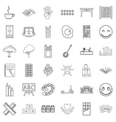 Childcare icons set outline style vector
