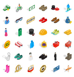 Clothes icons set isometric style vector