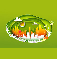 Concept of eco life style city vector