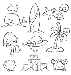 Doodle of summer holiday hand draw vector