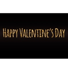 Happy Valentines Day gold glitter card template vector image
