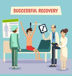 hospital doctors patient flat poster vector image vector image