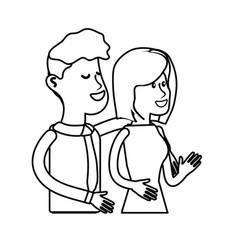 Line happy cute couple with elegant wear vector