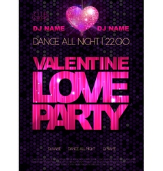Love heart background Valentine Disco poster vector image vector image