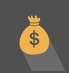 Money bag flat icon with long shadow on blue gray vector