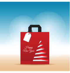 Paper bag with happy new year on it vector