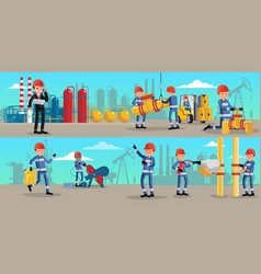 Petrochemical industry characters horizontal vector