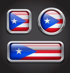 Puerto Rico flag glass buttons vector image
