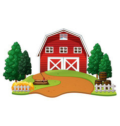 red barn in the farm vector image vector image