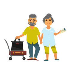 Senior couple holding hands stands near bags for vector