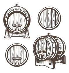 Set of vintage wooden barrels vector