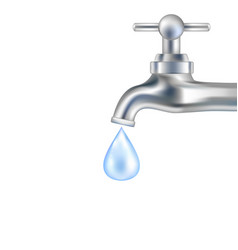 Silver tap with water vector