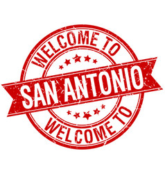 Welcome to san antonio red round ribbon stamp vector