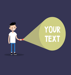 Young bearded man holding a flashlight your text vector