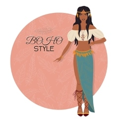 Young beautiful woman boho style fashion girl vector