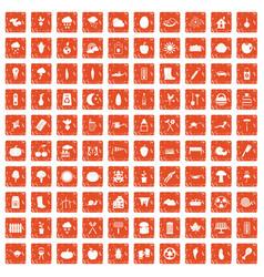 100 vegetables icons set grunge orange vector