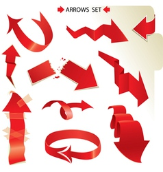 Set of different paper red arrows vector