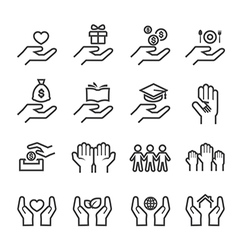 Give and protect icon line vector