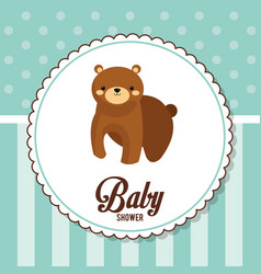 Baby shower card invitation with bear vector