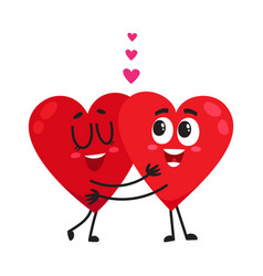 Two hearts hugging embracing each other couple vector