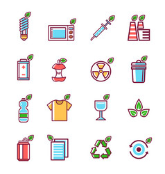 Waste rubbish pollution ecology recycling set vector