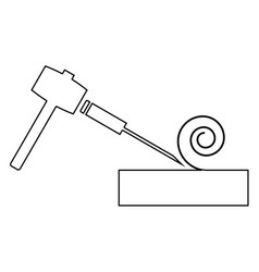 Hammer and wood carpentry the black color icon vector