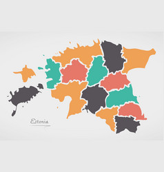 Estonia map with states and modern round shapes vector