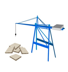 A blue mobile crane with stack of wood pallets vector
